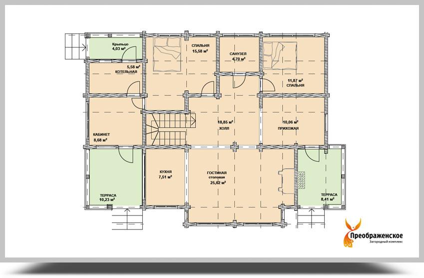 Площадь теплых помещений 1 этажа 108 45